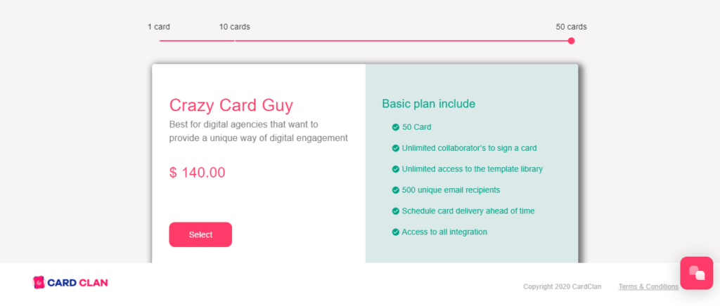 CardClans price plan for large companies.
